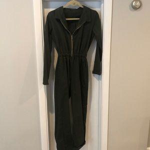 Green Brandy Melville Long sleeve Zip Jumpsuit